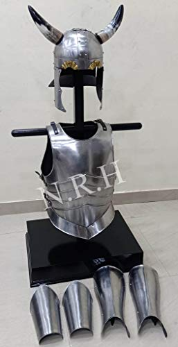 Maritime Replik Hub, Mittelalterlicher Wikinger-Horn-Helm, Arm- und Beinschutz, Brustplatte, Muskeljacke, Panzerkostüm