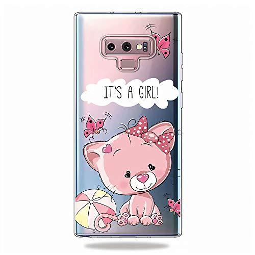 KSHOP kompatibel mit Hülle für Samsung Galaxy Note 9 Transparent TPU Silikon Weich Full Cover+Panzerglas Case Handy-Tasche Schale Handy-Hülle - Bear