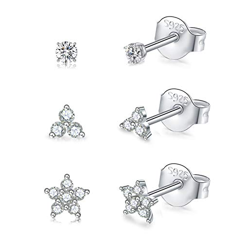 Sterling Silver Stud Earrings for Women, 3 Pairs Tiny Flower Earrings Set | Small Cubic Zirconia Helix Earrings Dainty Tragus Cartilage Studs Cherry Blossom Ear Piercing Jewelry Gifts for Girls Teens