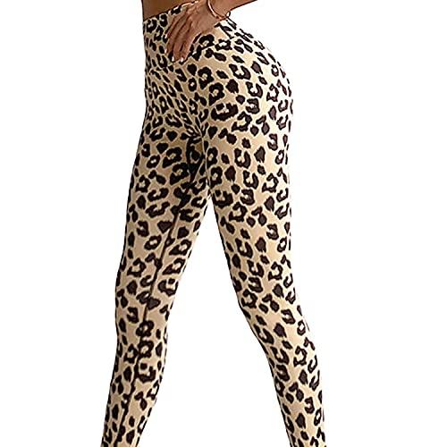 Push up Mujer Leggins Deportivos Yoga Leggings de Cintura Alta Pantalones Deporte para Fitness Running Elásticos y Transpirables (Color : White Leopard, Size : Large)