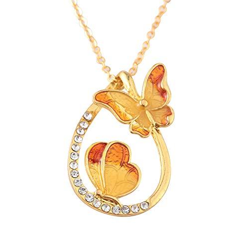 ODJOY-FAN 6g Bunt Schmetterling Diamant Halskette Wasser Fallen Geformt Anhänger Schlüsselbein Ketten Necklace (Orange,1 PC)