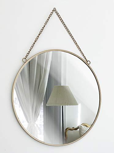 GreyZook Spiegel im Vintage-Stil, rund, Metallrahmen, mit Kette