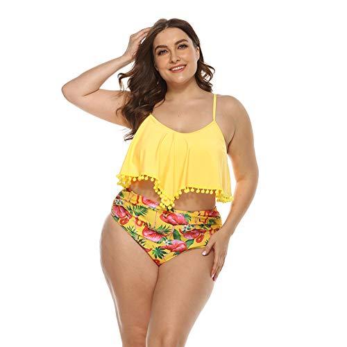 Traje De Baño De Talla Grande, Bikini De Mujer Gorda, Más Gordo para Aumentar El Traje De Baño De Dos Piezas, Traje De Baño Bikini, Traje De Baño Deportivo para Mujer,Amarillo,1XL