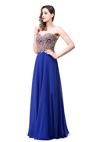 MisShow Damen Festliche Kleider für Hochzeit trägerlos Abendkleid Ballkleider A Linie Abi Kleider Lang Royalblau32