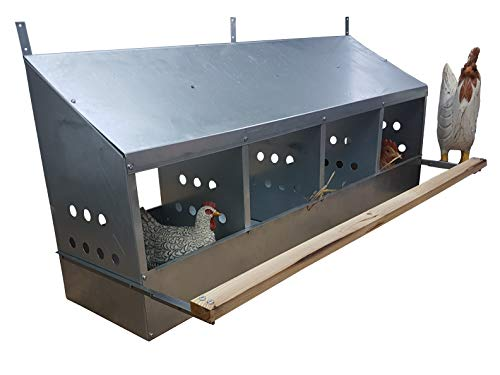 Best-Metal-Products 4 Hole Heavy Duty 23ga Galvanized Chicken Nesting Laying Roost Box Made in Germany 0300109