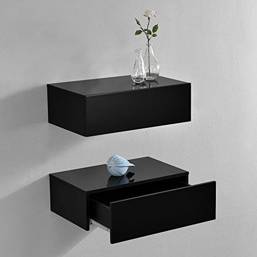 [en.casa] Set de 2 Mesitas de Noche de Pared con cajón - Lacado Brillo Negro - 46x30x15cm