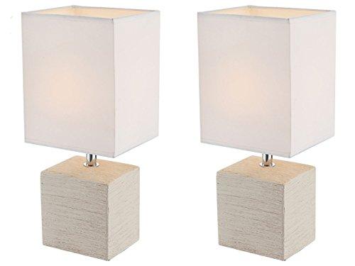 Globo Lighting - Juego de 2 lámparas de mesa (base de cerámica, pantalla de tela), color beige