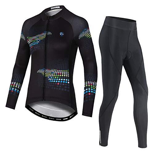 LSHDCER - Maillot de ciclismo para mujer, transpirable, de manga larga y...
