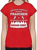 Hunde - Leg Dich Niemals mit Meinem Frauchen an - S - Rot - t Shirt sprüche Damen Hund - L191 - Tailliertes Tshirt für Damen und Frauen T-Shirt