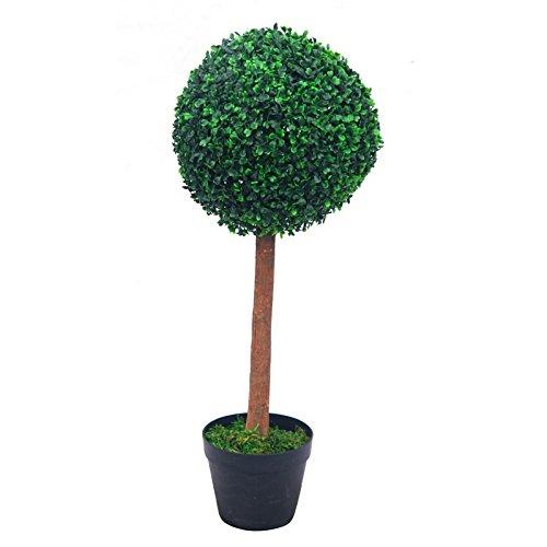 Decovego Buchsbaum Kugel Künstliche Pflanze Buxus Deko im Blumentopf Echtholz 57cm
