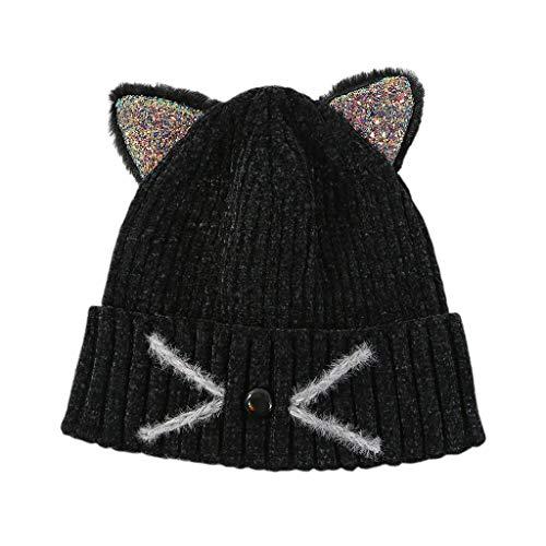 Tinaa Kawaii Bonnet Tricot Enfant Broderie Oreilles De Chat Chaud Flexibilité Chapeau d'hiver