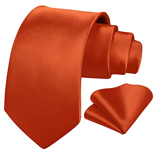 HISDERN PanuEIo de corbata naranja liso para hombre Boda clasico conjunto de corbataobolsillo