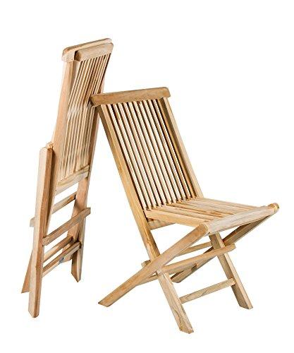 Lot de 2 Chaise pliante teck massif bois de teck Lot de 2 Chaise de jardin pliable pliable