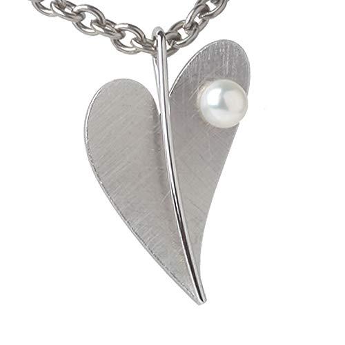 Ernstes Design Anhänger AN208 Herz aus Edelstahl Perle massiv 35 mm mattiert