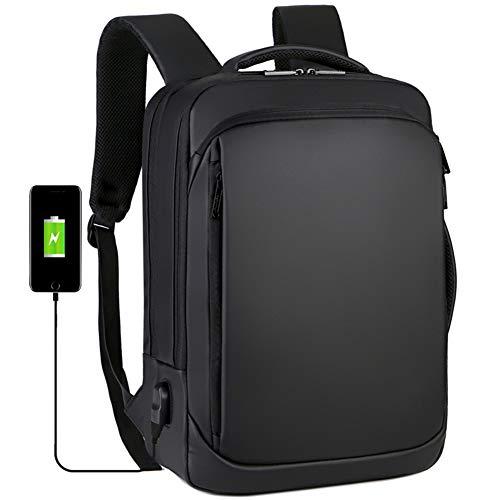 ラップトップバックパック、防水性と USB充電ポートを備えた15.6インチ多機能用カジュアルビジネスリュックサックスクールコンピューターデイパック