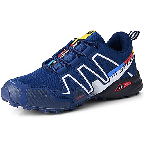 AGYE Cycling Shoes Mens,Non-slip Cycle Shoes Road Bike Mountain Bike MTB Shoes Flat Assisted Sports Shoes,Blue-46