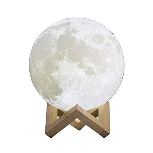 KINGCOO 3D Lampe de Lune Lumière Luna Veilleuse, Rechargeable Tactile Lumière de Nuit Lampe de Bureau Réglable Décor de Chambre pour Enfants Cadeau de Noël d'anniversaire(7.87 inch/20 CM)