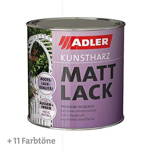 ADLER Kunstharz Mattlack Weiß 750 ml - Erstklassiger Lack matt, geruchsarm mit guter Wetter- und Vergilbungsbeständigkeit und hoher Deckkraft - Kunstharzlack in Bootslack Qualität