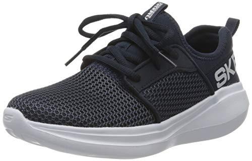 Skechers Jungen Go Run Fast Valor Sneaker, Blau (Navy Textile/Navy Synthetic/White Trim Nvy), 36 EU