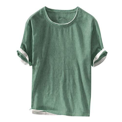Dasongff katoenen shirt linnen shirt met turn-up mouwen patchwork korte mouwen pulli ronde hals zomertop vrije tijd shirt heren overhemd effen bovenstuk XXXL groen