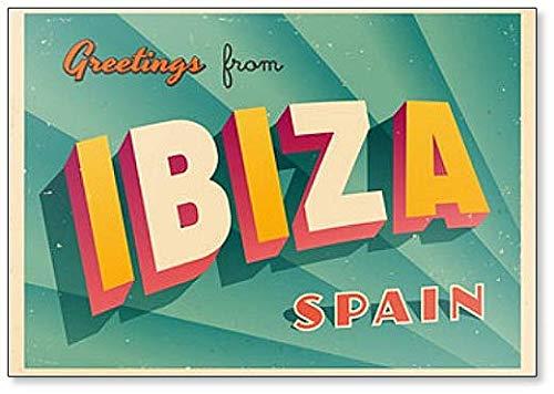 Kühlschrankmagnet, Vintage-Stil, Touristische Illustration – Ibiza, Spanien