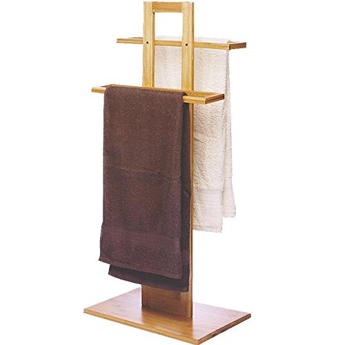 Porta asciugamani da terra in legno di bamboo - 37 x 25 x 85 cm