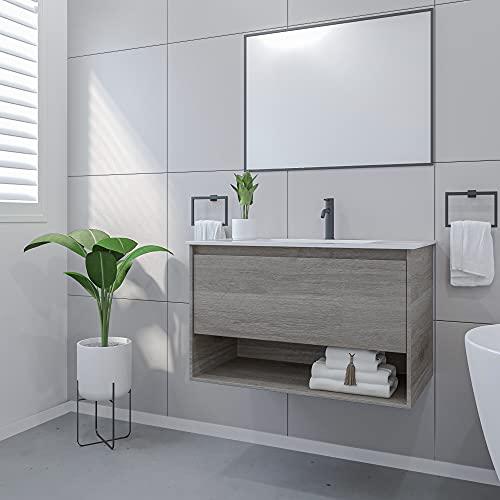 Mobile Bagno Sospeso con Lavabo e Specchio Salvaspazio in Legno MDF e Ceramica Elegante (Grigio Rovere 80cm.)