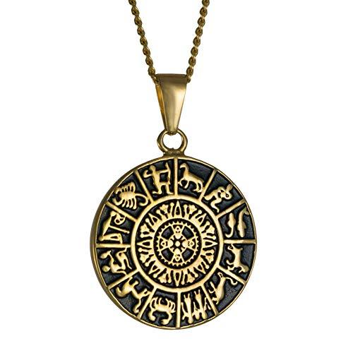 Vadim Tschenze Edelstahl vergoldet/versilbert - Schamanisches Amulett Matrix Neuzeit - Astrologisches Tierkreiszeichen - Kosmos Geometrie (3x3cm) (Gold)