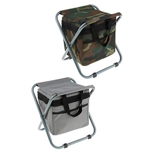 Générique Homyl 2pcs Siège Camping Pique-niques Table Voyages Portable - Camouflage/Gris