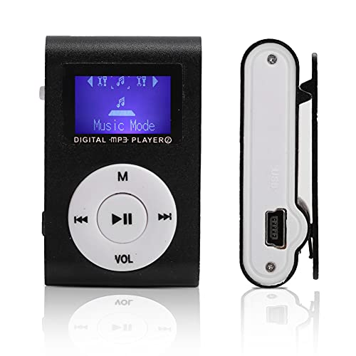 Wisoqu Portable Mini MP3 Music Player Sports Back‑Clip LCD Screen MP3 Support Memory Card Portable Mini Player(Black)