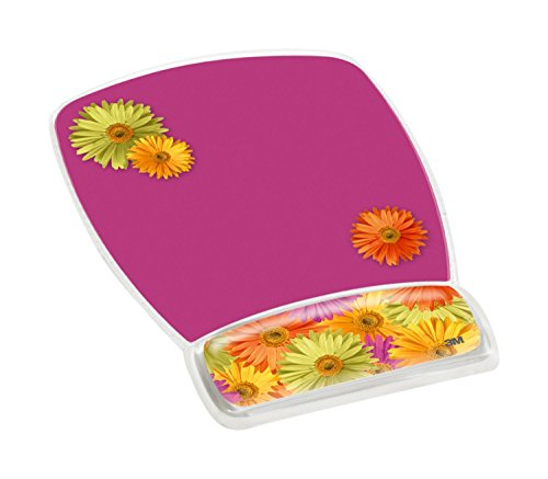 """3M Precise Mouse Pad with Gel Wrist Rest, Daisy Design (MW308DS),Pink (Daisy),9""""7.5"""""""