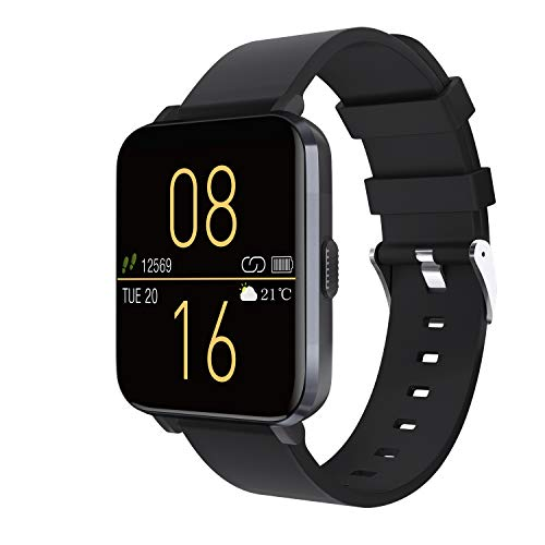"Kalakate Smart Watch for Men Women, IP68 Waterproof Fitness Tracker for Android iOS Phones, Smartwatch with 1.54"" Touch Screen, Pedometer, Heart Rate, Sleep Monitoring, Weather Forecast (Black)"