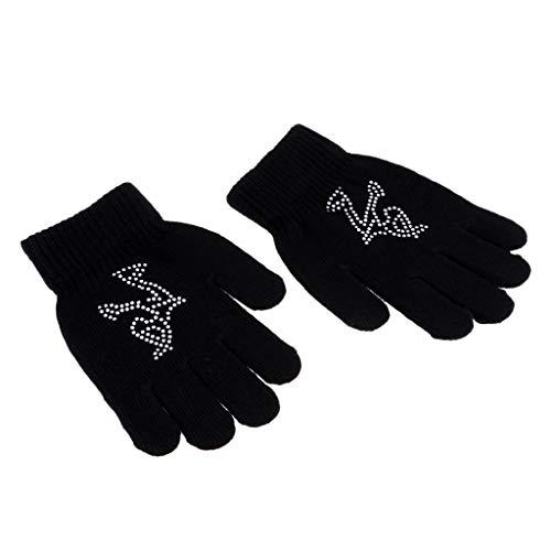 IPOTCH Damen Mädchen Eislaufen Handschuhe Magic Stretch Sporthandschuhe Winterhandschuhe Skihandschuhe mit Strass Deko - Schwarz S