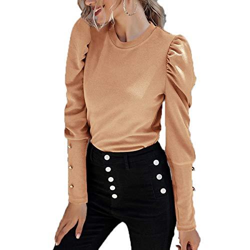 Herbst/Winter Damen Pullover Langarm Rundhalsausschnitt Schlank Einfarbig PuffäRmel Damen T-Shirt