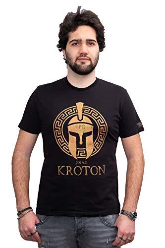 KROTON T Shirt Serigrafia Elmo Acheo in Tessuto Morbido di qualità per Abbigliamento Comodo da Indossare. Tessuto 100% Made in Italy. vestibilità Fit. (XL Uomo Dim Larghezza 54,5 Lunghezza 75)