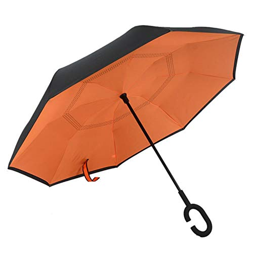 UKKD Paraguas Revertir La Lluvia Paraguas Plegable Mujeres Bicapas para Los Hombres, Las Mujeres Autoportantes A Prueba De Viento del Paraguas Paraguas Invertidos,701