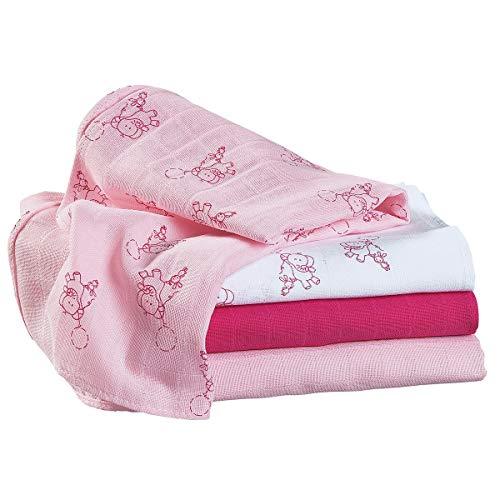 Bornino Le lot de 4 langes 80 x 80 cm couche en tissu, blanc/rose/rose vif