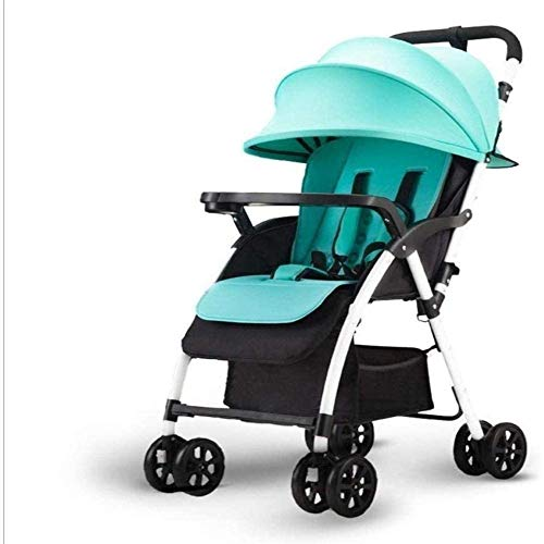 Buy Discount Baby Stroller Ultralight Portable Can Sit Reclining Shock Absorber Umbrella Baby Winter and Summer Folding Child Stroller Can Bear 30kg,Green