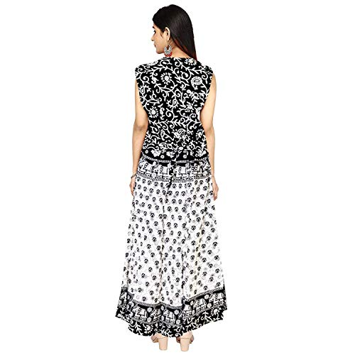 Rangun Women's Cotton Jaipuri Printed A-Line Maxi Long Dress (Free Size, Multicolour)
