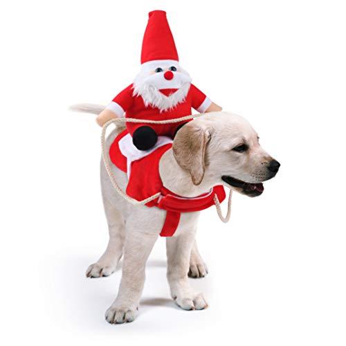 Idepet Disfraz Gato de Navidad, Ropa para Perros Cosplay con Papá Noel Montado en Mascota Gato Perro Abrigo Rojo