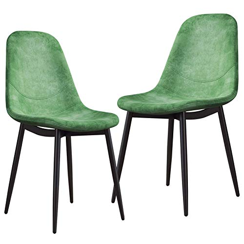 Set of 2 Dining Chairs Tulip Style Velvet Seat with Sturdy Metal Legs for Bedroom Living Room Office Dining Kitchen (Color : Green, Size : Black Legs)