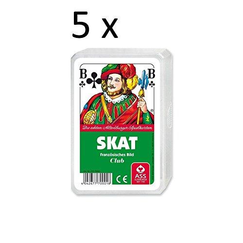 Ass Altenburger Spielkarten Skat  Französisches Bild, Blatt im Plastiketui, 5er Pack