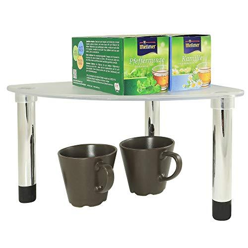 UPP Küchen-Eckregal stapelbar und erweiterbar I Kleines Küchenregal ideal als Schrank-Ordnungssystem I Schrankeinsatz ordnet Gewürze, Konserven etc. [Eckregal]