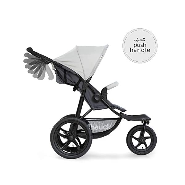 Hauck Runner, Jogger Style, 3-Wheeler, Pushchair with Extra Large Air Wheels, Foldable Buggy, For Children from Birth to 25kg, Lying Position - Silver Grey Hauck LONG USE - This 3-wheel pushchair is suitable from birth (in lying position or in combination with the 2in1 Carrycot) and can be loaded up to 25kg (seat unit 22 kg + basket 3 kg) ALL-TERRAIN - Thanks to the big air wheels - back 39cm diameter, front 30 diameter – as well to the swiveling and lockable front wheel, this jogger style pushchair can be used on almost any terrain COMFORTABLE - Thanks to adjustable backrest and footrest, sun canopy, large shopping basket, and height-adjustable push handle 8