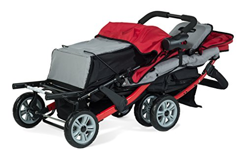 Foundations Triple Sport 3-Seat Tandem Stroller with Canopy, 5-Point Harness, Foot-Brake (Red)