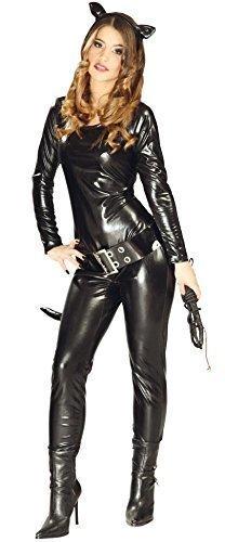 Fancy Me Damen Sexy Schwarz Catsuit Superheld Bösewicht Halloween Katze Comicbuch Kostüm Kleid Outfit UK 10-12