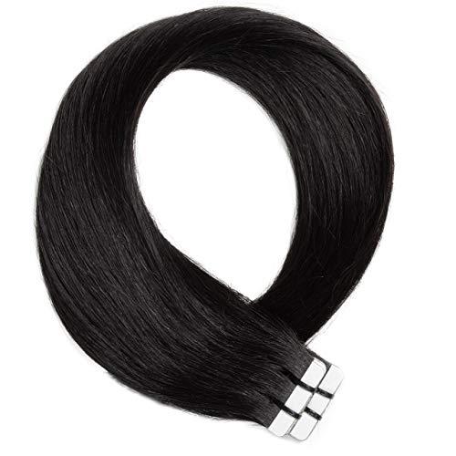 Just Beautiful Hair 20 x 2.5 g Extensions bande adhésives #1b noir naturel 60cm