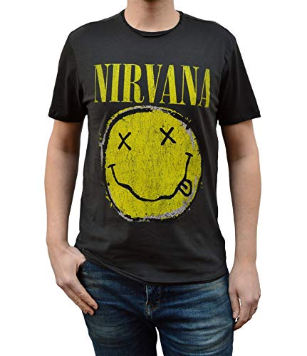 Amplified Nirvana usurato smiley t-shirt unisex antracite Carbone L