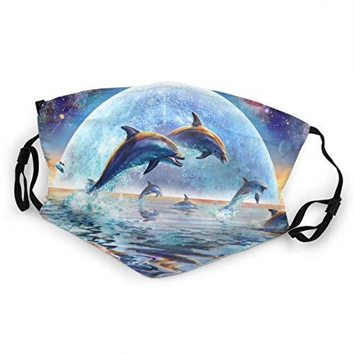 Kinder-Mundschutz Galaxie Delphine springend Sonnenuntergang Raum waschbar Anti-Staub-Gesichtsabdeckung