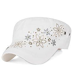 Crystal Gemstone Stud Flower White Cotton Cadet Cap